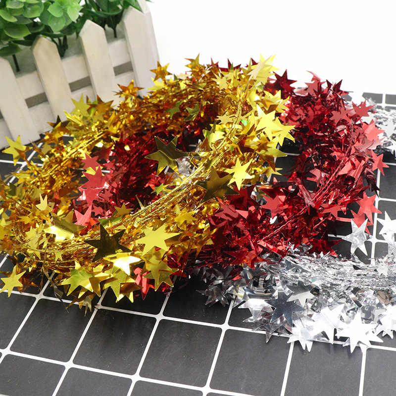 7.5m עם חוט ברזל מחומש כוכב צבע פסים חגיגי קישוט מסיבת רדיד אווירה אבזרים בעבודת יד DIY גלם חומרים