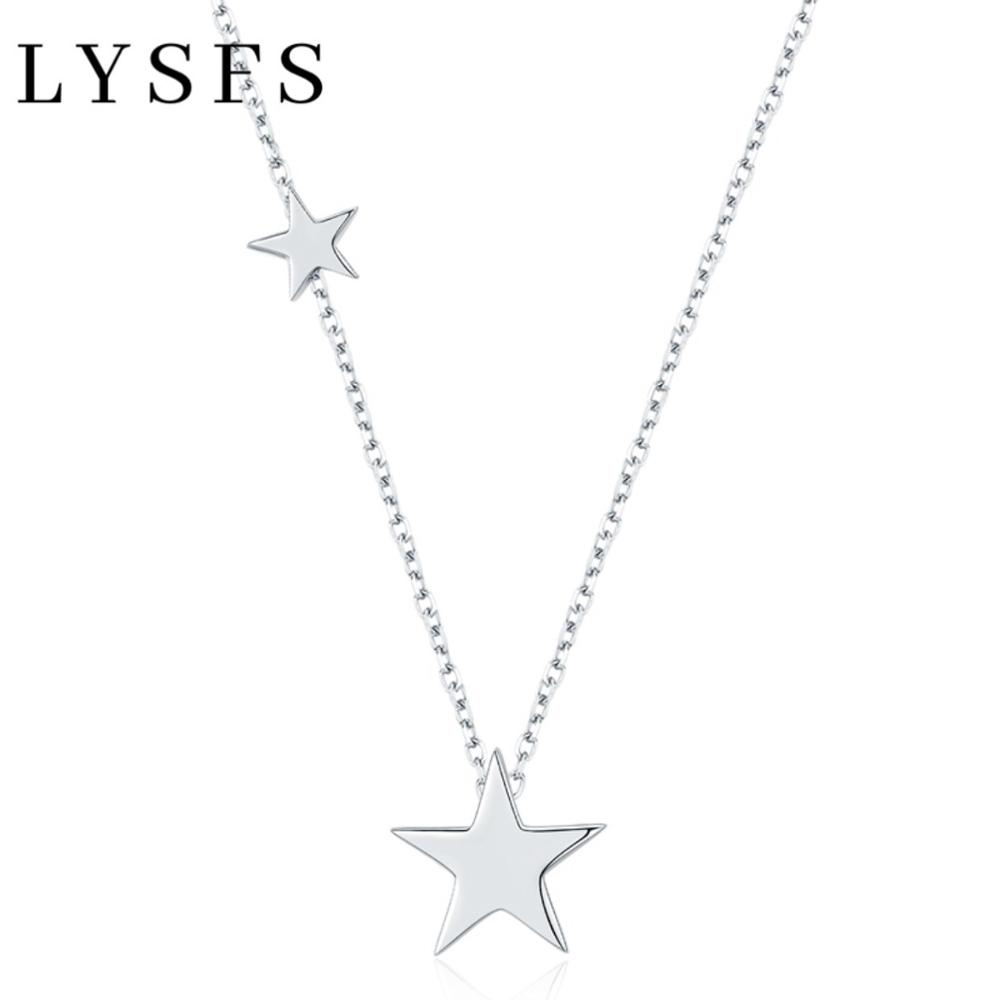 LYSFS 925 Sterling Silver Double Stars Pendants Necklace Trendy Elegant Necklaces Fine Jewelry For Women HN021