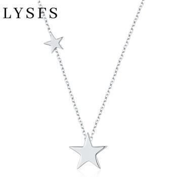 цена LYSFS 925 Sterling Silver double Stars Pendants Necklace Trendy Elegant Necklaces Fine Jewelry for Women HN021 онлайн в 2017 году