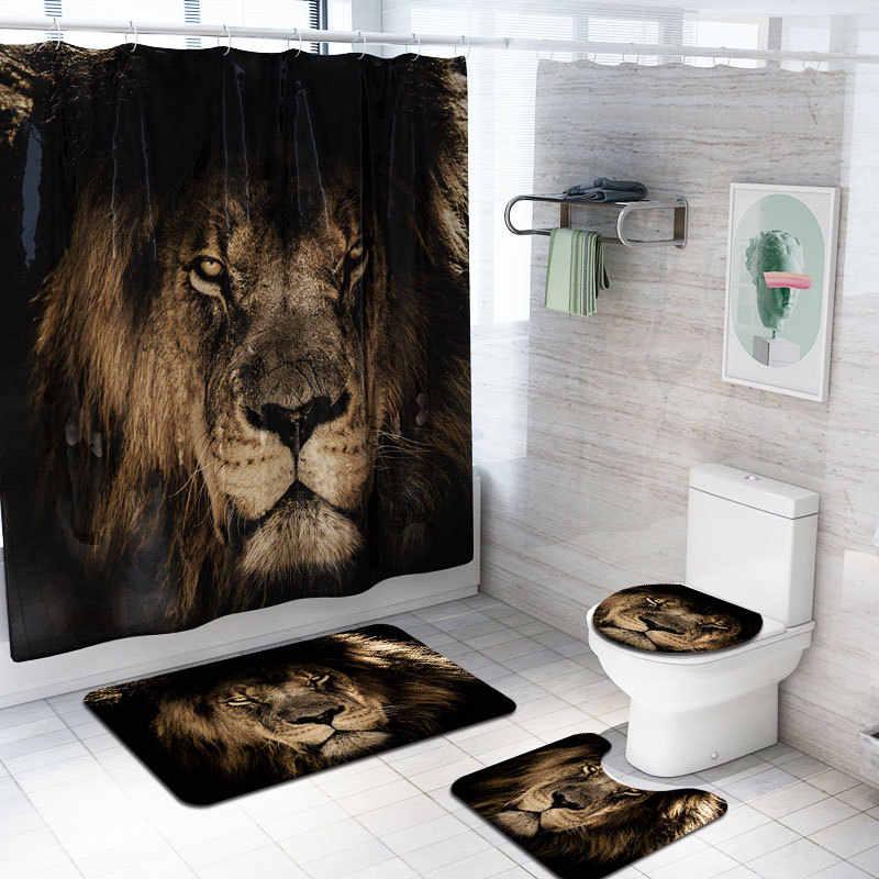 Cute Little Lion Shower Curtain Bath Mat Toilet Cover Rug Bathroom Decor