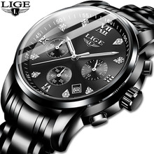 LIGE Mens Watches Top Brand Luxury Fashion Business Quartz Watch Men Sport All Steel Waterproof Black Clock erkek kol saati+Box lige fashion mens watches top brand luxury wrist watch quartz clock stainless steel waterproof sport watch men erkek kol saati