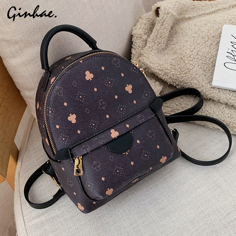 Vintage Multifunction Small Backpack Women Soft PU Leather Zipper Shoulder Bag Simple Solid Crossbody Bags Travel Daily Bagpack