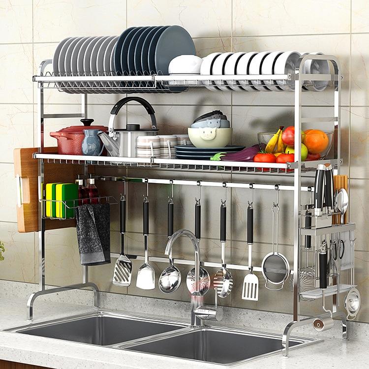 304 stainless steel sink bowl rack drainage rack kitchen appliances 2 storey sink hanging bowl and dish rack