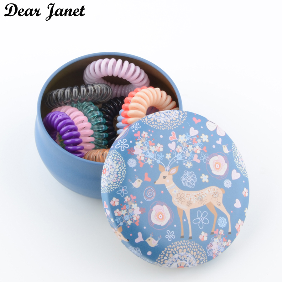 12pcs/box 3.5cm Telephone Line Ponytail Holder Hairbands Gum Hair Styling Tools Headwear For Kids Girls Women Iron Storage Box
