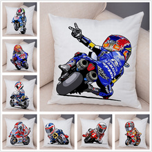 Super Soft Short Plush Cartoon Sport Motorcycle Cushion Cover Mobile Bike Pillow Covers Pillow Case for Sofa Home Pillowcase cheap ROMANZO Chair Seat Decorative Printed Woven Letter Square DBZ0294 Plain decorative pillow covers black yellow red blue Invisible zipper