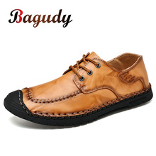 Hot Sale Leather Men Flats Shoes Hand Sewing Men Oxfords Zapatos Hombres Trendy Men Leather Lace Up Shoes High Quality Moccasins