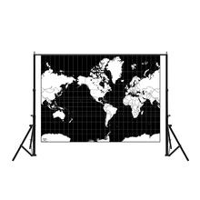 Mercator Projection World Map Aerial View Black And White Continental Plate 100x150cm Non-woven