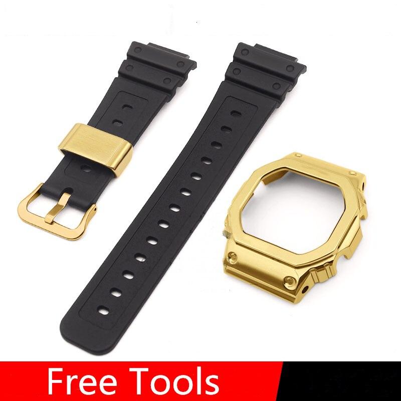 Bracelet de montre en résine d'origine pour DW-5600 GW5000 DW5035 GMW5610 bracelet de montre lunette Plus anneaux en métal boucles or, argent noir