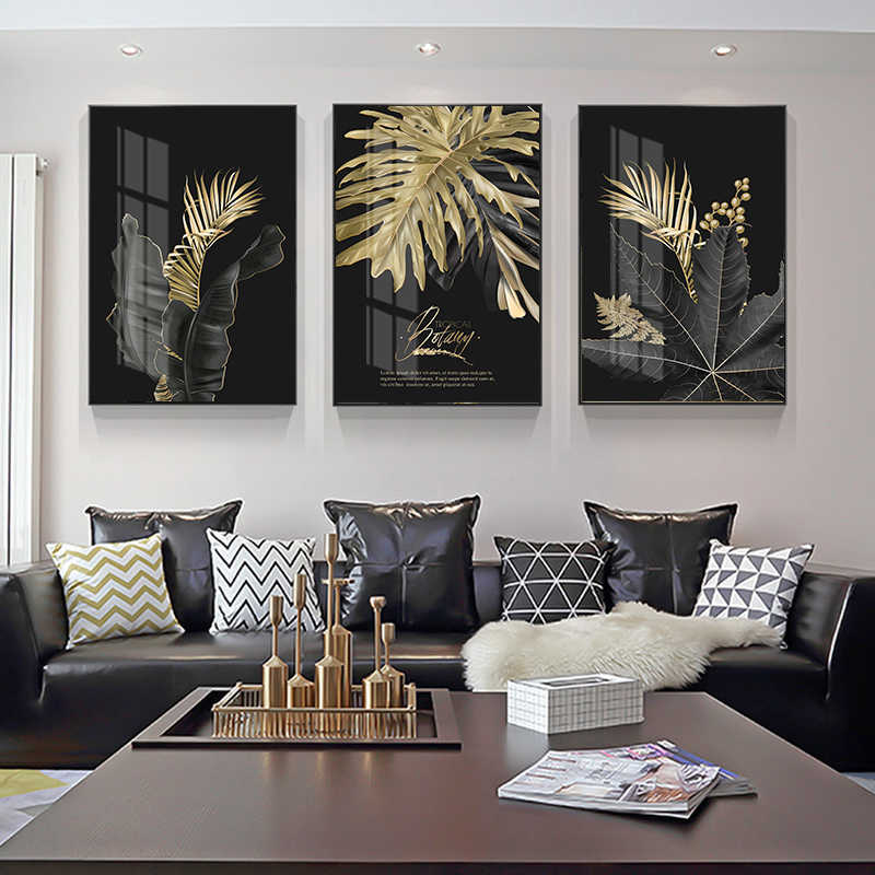 Abstract Golden Leaf Plant Wall Art Canvas Painting Nordic Posters and Prints Wall Pictures for Living Room Modern Home Decor