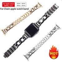 Correa para Apple Watch 6 SE 5 4 40mm 44mm, pulsera de acero inoxidable para Iwatch Series 6 5 4 3 38mm 42mm