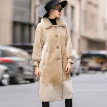 Real Fur Coat Mink Fur Collar Wool Jacket Spring Autumn Coat Women Clothes 2020 Korean Vintage Double-faced Fur Women Tops T3794(China)