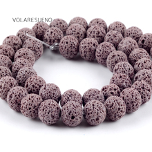 """Natural Gray Volcanic Lava Stone Round Loose Beads For Jewelry Making 6-12mm Spacer Beads Fit Diy Bracelets Accessory 15""""Strand цена 2017"""