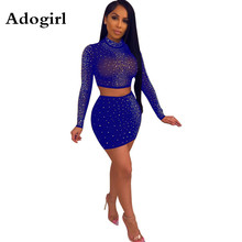 Adogirl Irregular Crystal Mesh 2 Piece Suit Women Sexy Turtleneck Long Sleeve Crop Top+ Bodycon Mini Skirt Night Club Outfits adogirl reflective gilding two piece set dress 3 4 puff sleeve one shoulder crop top bodycon mini skirt women sexy club outfits