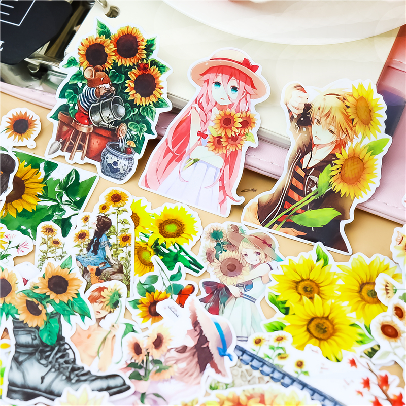 30pcs/ Pack Creative Cute Self-made Mori Girl Sunflower Scrapbooking Stickers /Decorative Sticker /DIY Craft Photo Albums