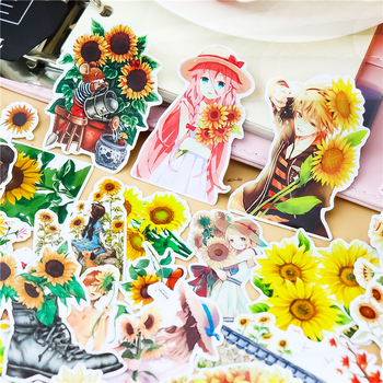 30pcs/ pack Creative Cute Self-made Mori girl sunflower Scrapbooking Stickers /Decorative Sticker /DIY Craft Photo Albums цена 2017