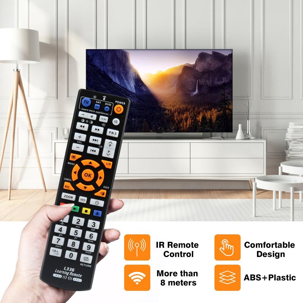 Control remoto inteligente por infrarrojos Universal con función de aprendizaje, copia de controlador de 3 páginas para TV STB DVD SAT DVB HIFI TV BOX, L336