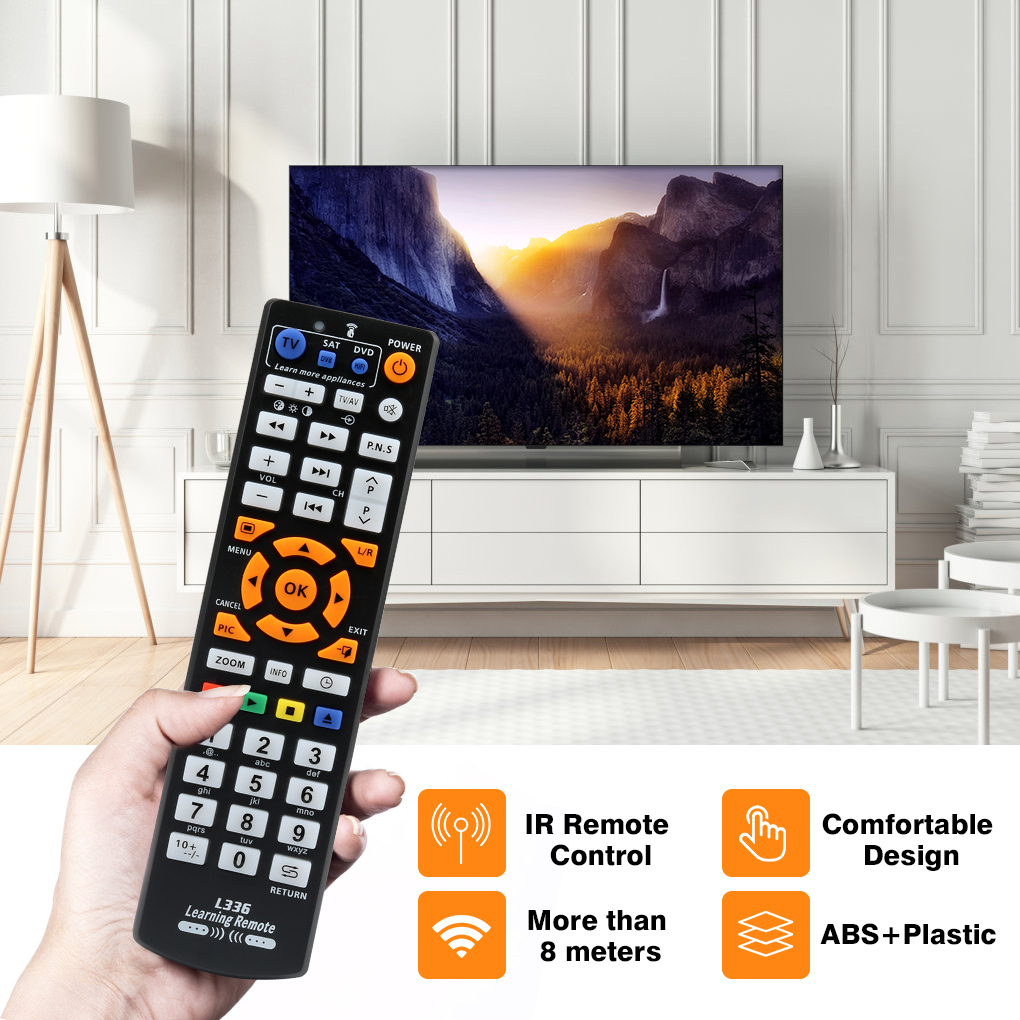 Universal Smart IR Remote Control with learn function, 3 pages controller copy for TV STB DVD SAT DVB HIFI TV BOX, L336