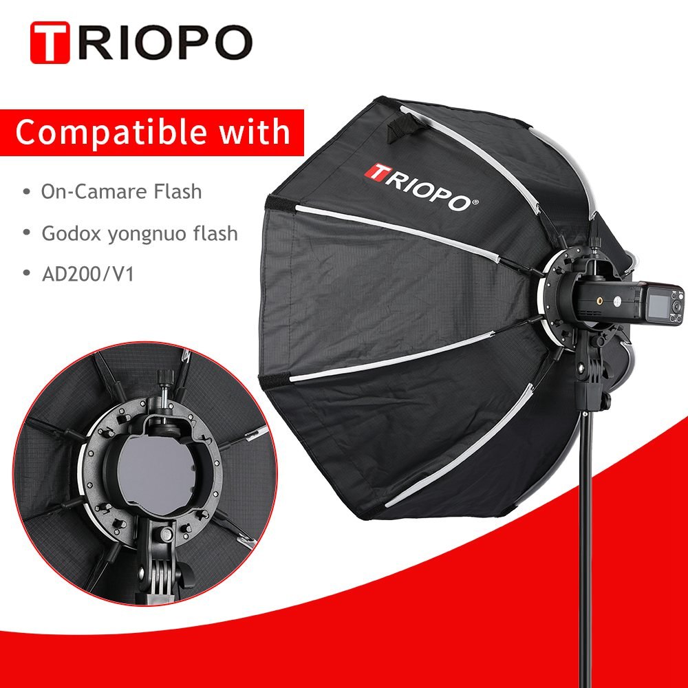 TRIOPO 65cm KX65cm Octagon Umbrella Softbox Soft box for Godox AD200 V1 yongnuo YN200 Flash Light photography studio accessories