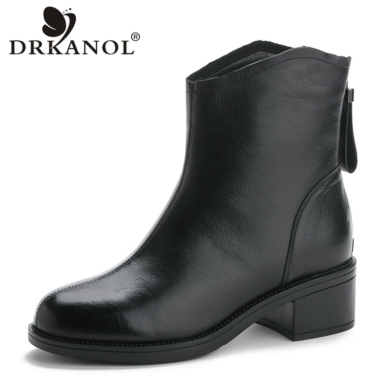 DRKANOL New Autumn Winter Thick Heel Ankle Boots Women Genuine Leather Back Zipper Warm Shoes Boots Non-slip Women Boots H8293