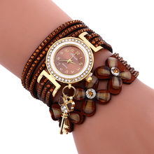 Quartz Watch Women Fashion Chimes Diamond Leather Bracelet Wrist Watch ladies Watch(China)