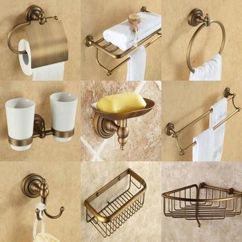 Vintage Retro Antique Brass Dots Bathroom Accessories Set Bath Hardware Towel Bar Soap Dish Toilet Paper Holder Robe Hook mm025 3 pieces antique copper bathroom set include towel bar paper holder soap dish