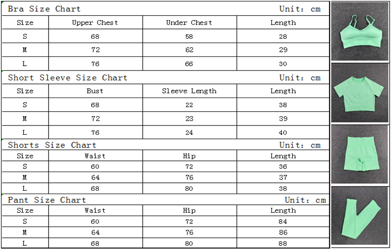 Women Yoga Set Seamless Fitness Suit Gym Clothing Shorts Workout Crop Top Sport Shirt Solid Pant High Waist Leggings Running Bra