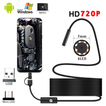 7mm Endoscope Mini Action Camera 720p Video Waterproof Cameras 6LED Inspection Borescope 360 Camera for Android Mobile Phone