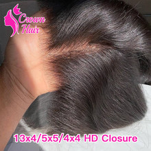 Perruque Lace Frontal Closure brésilienne 100% naturelle, cheveux humains vierges, pre-plucked, Transparent HD, 2x6, 5x5, 4x4, 13x4