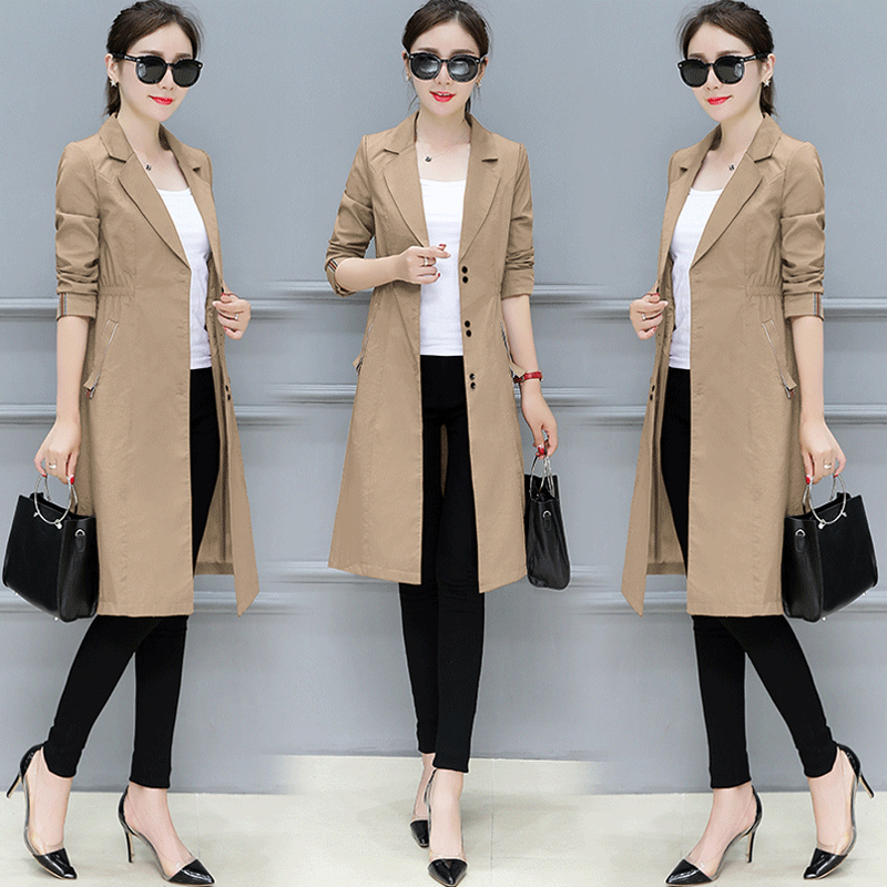 2019 winter new women   trench   coat long turn-down collar solid office lady elegant pockets outwear coat long cardigan tops