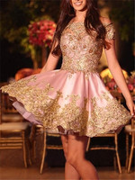 Pink Homecoming Dresses Short Off Shoulder Gold Lace Mini Youth Graduation Dress 2020 Cocktail Gown Prom Party Gowns Cheap