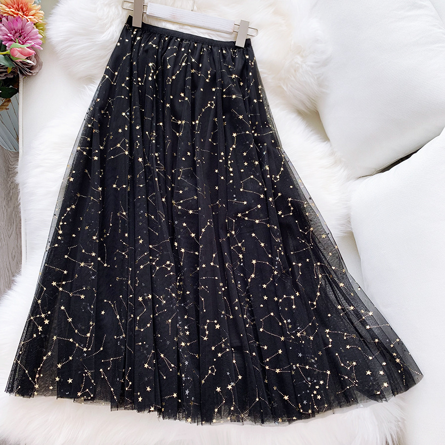 Women Pretty Tulle Long Skirt WF0013 Spring Summer Sparkling Star Swing Sequin Tule Black Blue Pink Skirt