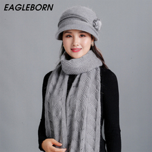 Women Hat Scarf-Set Knitted Winter New And for Bucket Rabbit-Fur-Hat Mom Warm