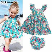 Vestido de verano con volante para niña pequeña, Floral, braguitas de vestido veraniego, conjunto de ropa, 2020