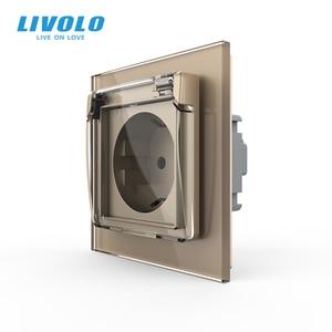 Image 4 - Livolo האיחוד האירופי תקן שקע חשמל, לבן זכוכית פנל, AC 110 ~ 250V 16A קיר שקע חשמל עם עמיד למים כיסוי C7C1EUWF 11