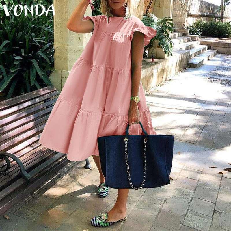 Summer Dress 2021 VONDA Women Summer Sundress Holiay Vintage Ruffled Party Dresses Casual Vestidos Femme Robe Plus Size Robe