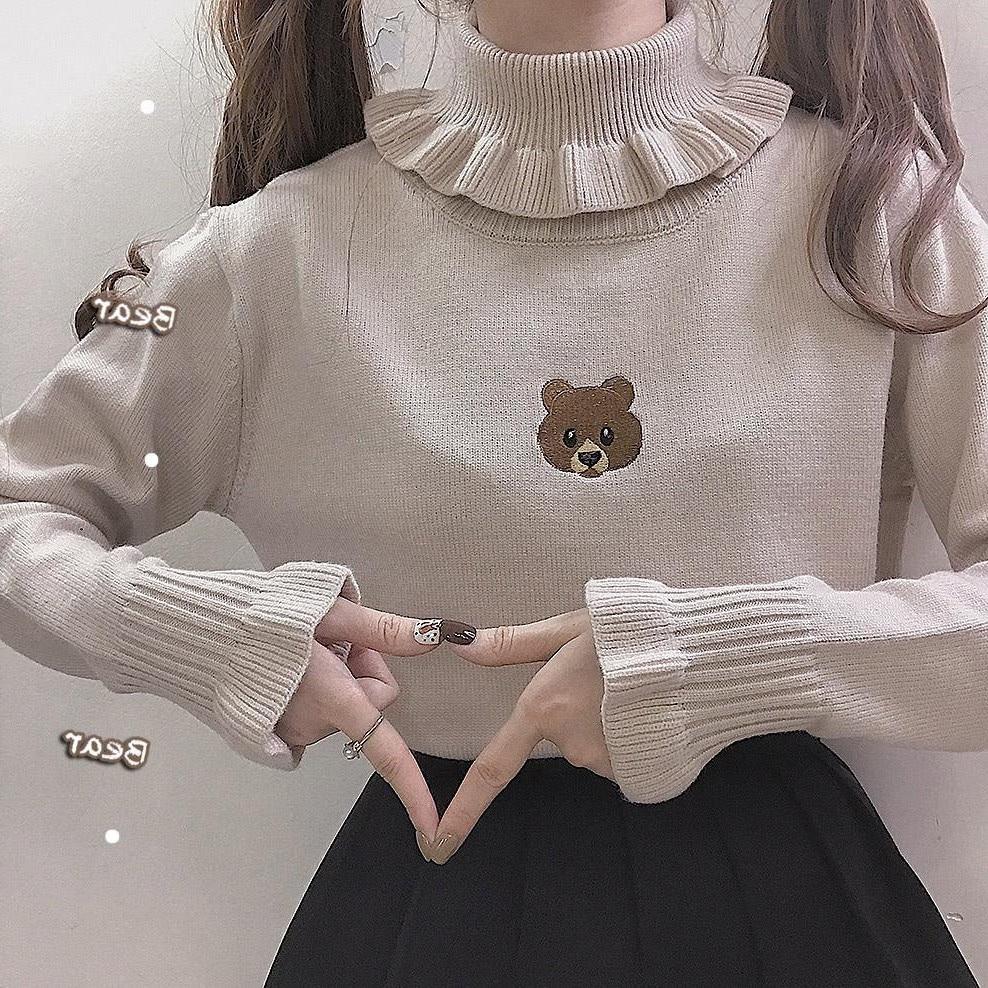 Female Harajuku Cute Bear Girl Turtleneck Sweater Vintage High Neck Kawaii Cream Ruffles Knitted Pullover Women Slim Jumper