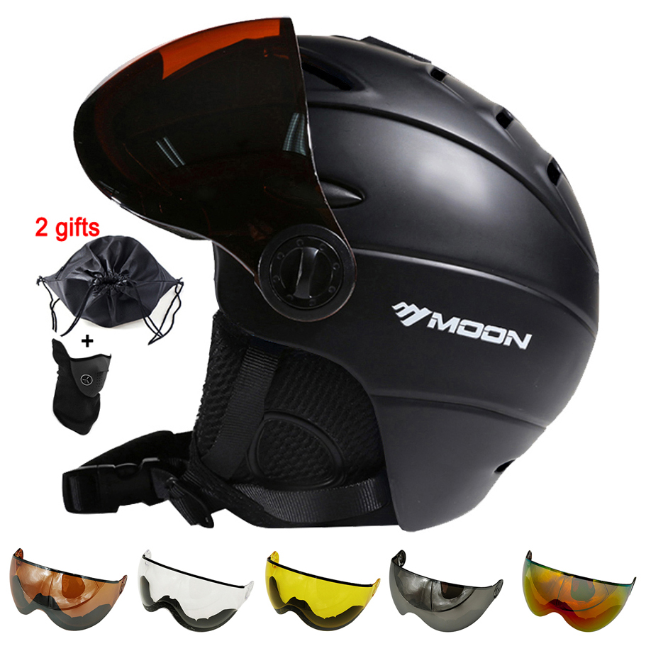 MOON Skiing Helmet Winter Outdoor Sports Men Women Ski Helmets Skiing Snowboard Snow Skateboard Helmet With Goggles Glasse Visor