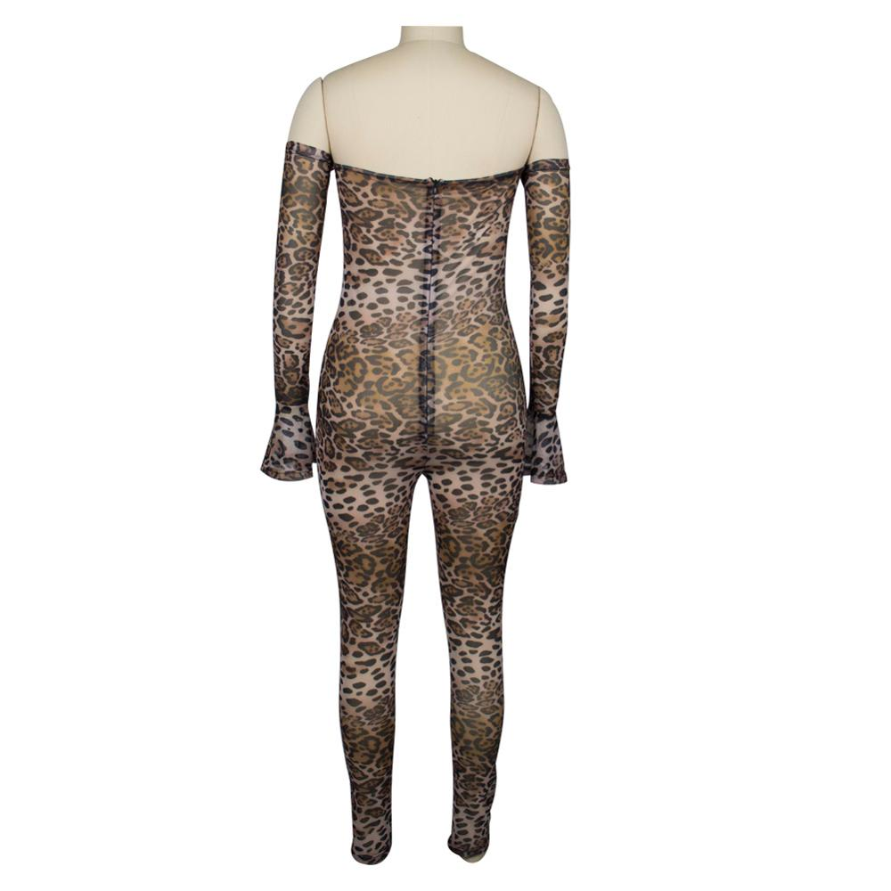 Adogirl Leopard Print Sheer Mesh Night Club Party Jumpsuits Women Sexy Slash Neck Off Shoulder Long Sleeve Romper Female Outfits Pants & Capris Women Bottom ! Plus Size Women's Clothing & Accessories