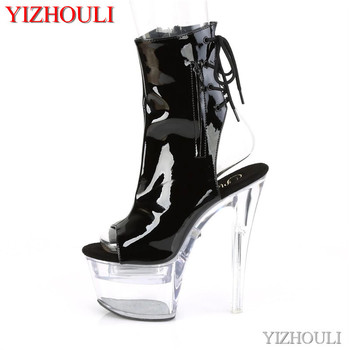 Open toe 17 cm, 7 inch transparent model stiletto heels, summer night club pole dancing ankle boots