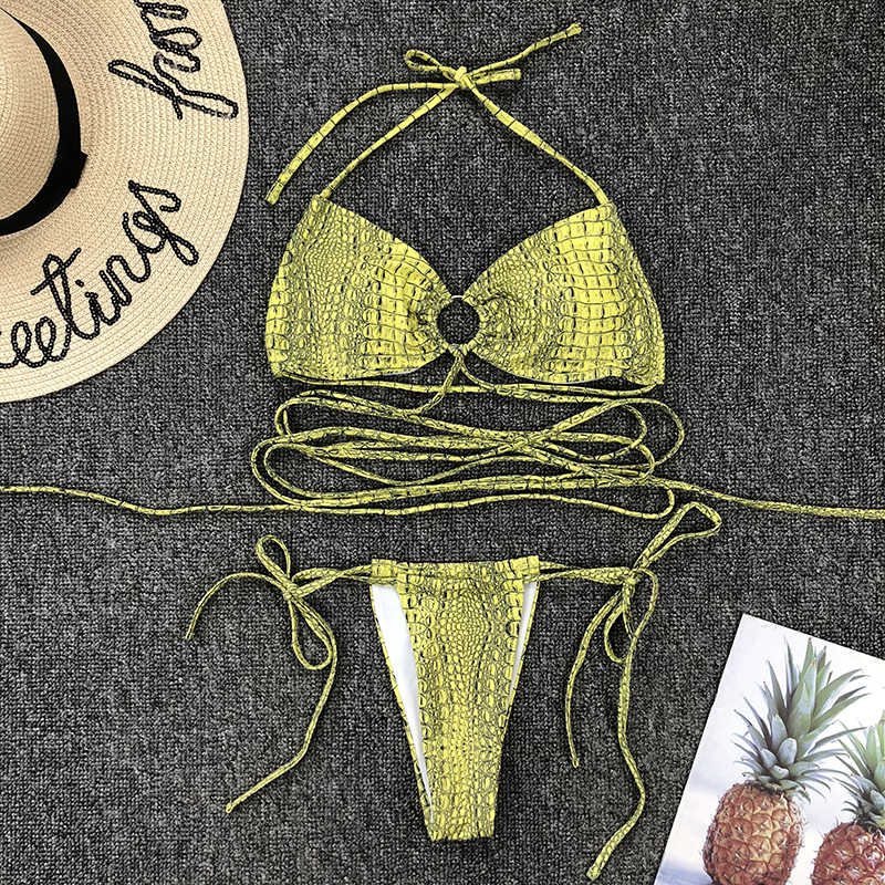 セクシーな包帯ビキニ 2020 水着女性のアウト中空ビキニセットヘビプリントブラジルの水着水着