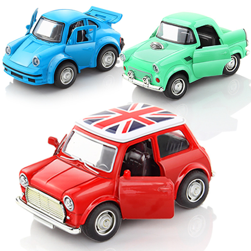 1:38 Alloy Car Pull Back Diecast Model Toy Sound Light Collection Car Vehicle Toys For Boys Children Christmas Gift