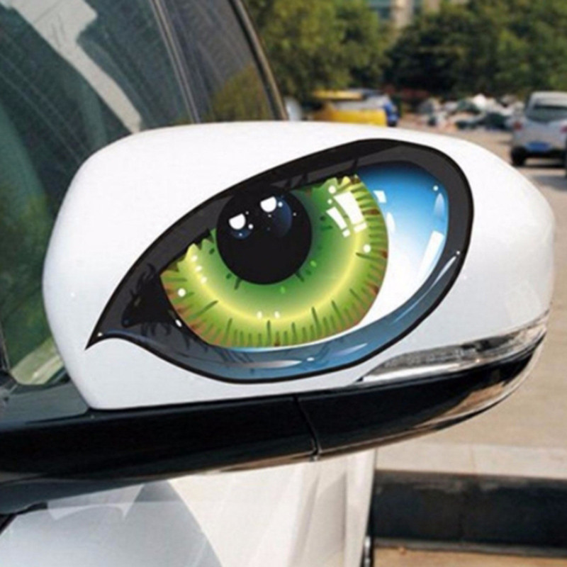 Car Stickers 3D Stereo Reflective Cat Eyes Car Sticker Creative Rearview Mirror Decal Universal Eyes stickers