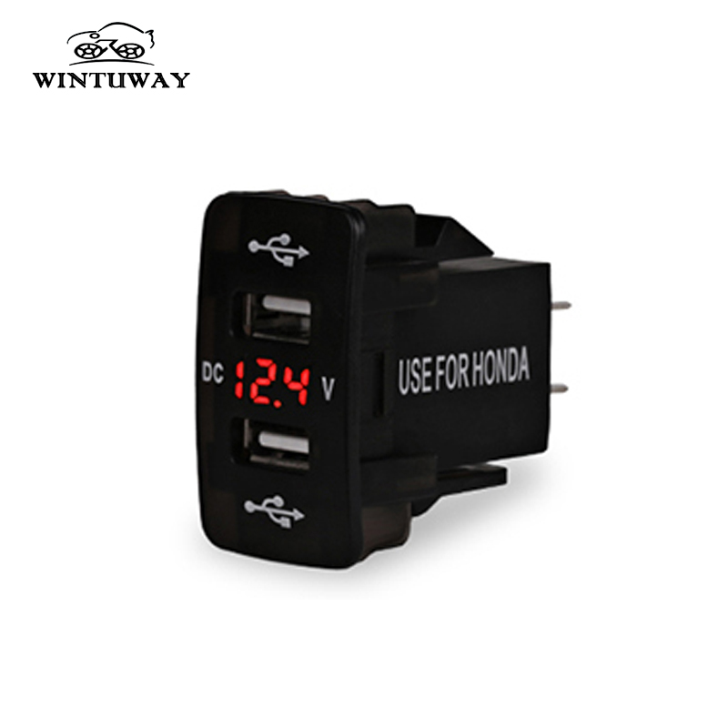 Red  Dual USB Charger LED Digital Display Voltage Meter For Honda Civic Fit Accord CR-V XR-V Stream Odyssey Acura Saloon Stream