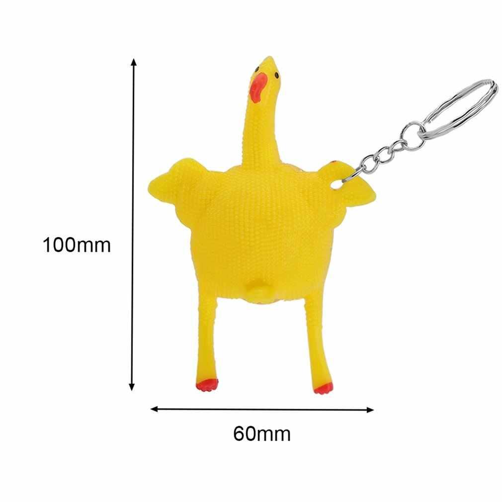 OCDAY nowość wycisnąć układanie jaj kury kurczak zabawki Vent kurczak całe jajko zabawna zabawka z pęku kluczy antystresowa śmieszna zabawka dla dzieci