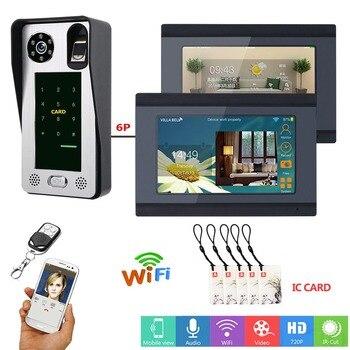 2 монитора 7 дюймов проводной wi-fi-отпечаток пальца IC карта видео телефон двери дверной звонок Домофон Система с системой контроля доступа дв...