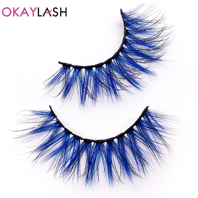 OKAYLASH 3D Drmatic Cruelty Free Faux Mink Colored Eyelashes Natural Long Colorful Blue Red White Eye Lashes For Cosplay Make Up