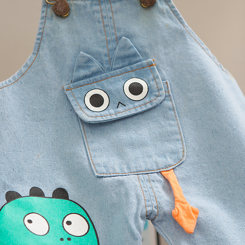Denim Overalls Clothes Set for Baby Boys O-neck T-shirt Shorts 2 Pieces/Set New Short-sleeved Infant Children Kids Clothing 5