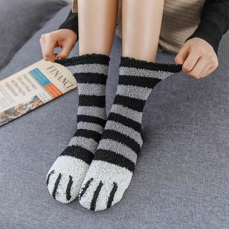 Теплые зимние носки-тапочки для женщин и девочек; Носки для сна с кошачьей лапой; Милые забавные домашние носки; Толстые носки