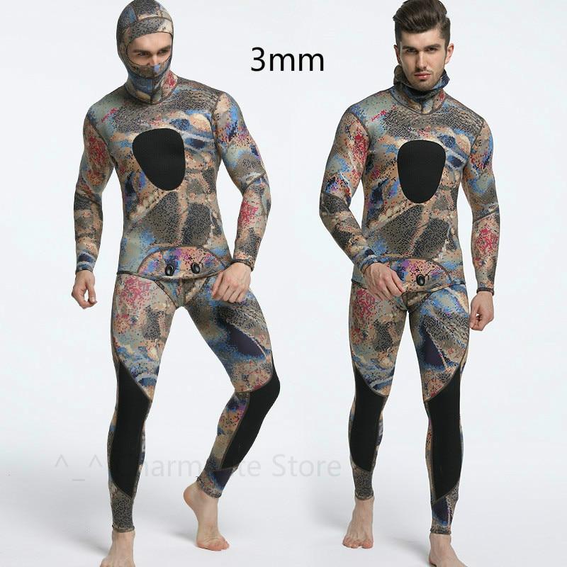 Camouflage deux pièces ensemble néoprène Camouflage combinaison de plongée résistant au soleil et chaud combinaison de surf pour hommes plongée combinaison humide avec capuche 3mm - 2