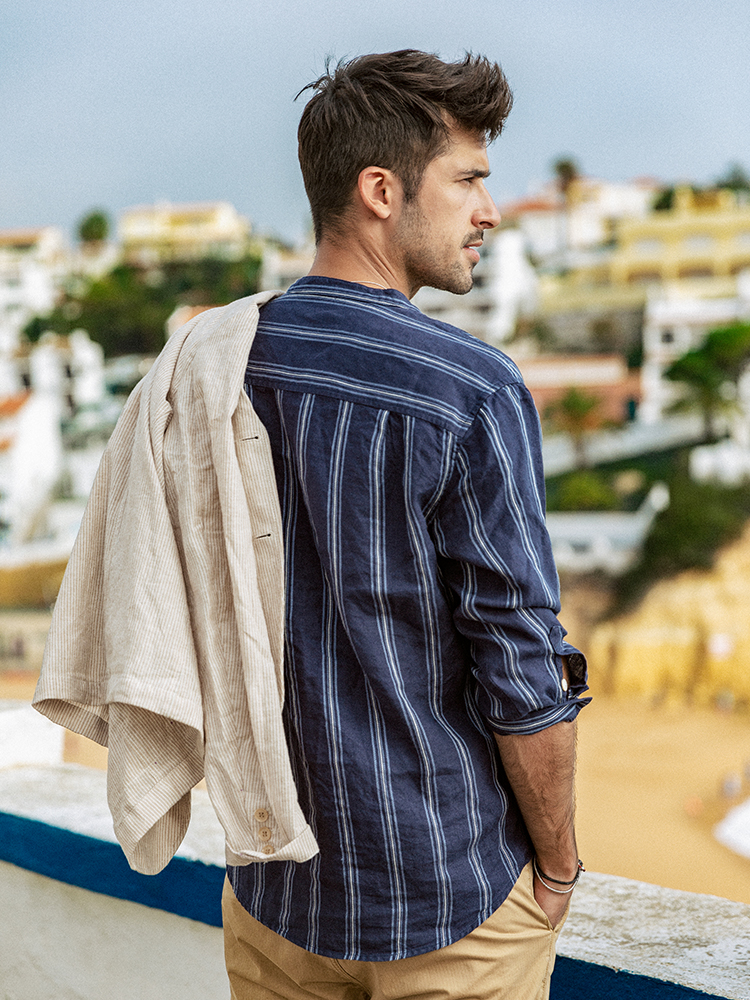 SIMWOOD 100%Linen Shirt-Stand Vertical Striped Collar Three-Quarter-Sleeve Plus-Size